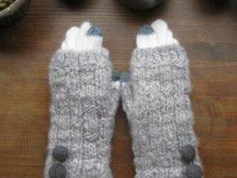 うさみみ    (グレー指なし手袋+モヘア5本指手袋)の画像