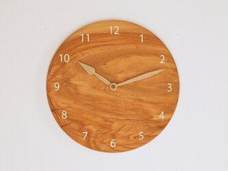 木製 掛け時計 丸型 桜材16の画像