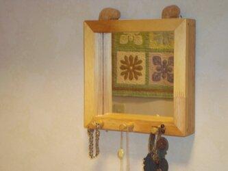 フック付壁掛け木製ミラー オリジナルハンドメイド!の画像