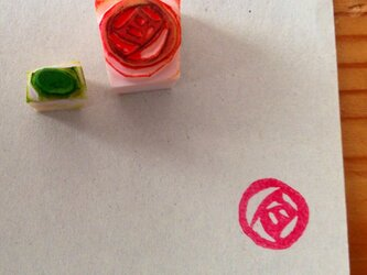 【再販】小さなバラの消しゴムはんこの画像