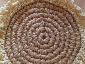手編み*草木染め*ひまわりのコースターの画像