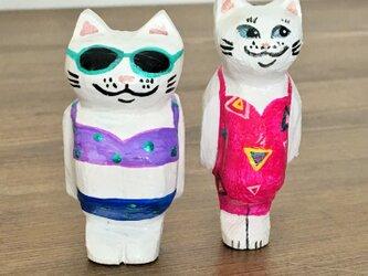 猫マグネット ピンクの画像