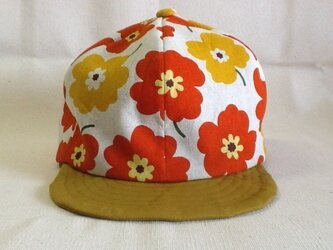 北欧風 花柄キャップ(オレンジ×イエロー)の画像