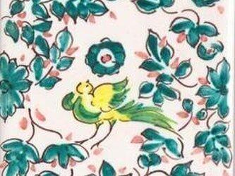 水彩タイル 森と鳥②の画像