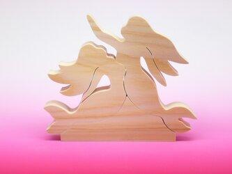 送料無料 木のおもちゃ 動物組み木 人魚の姉妹の画像