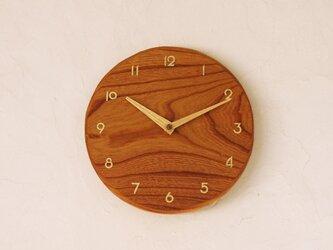 掛け時計 丸 けやき材の画像