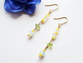 アクアマリン クールストーンピアス Aquamarine Cool stone earrings P0040の画像
