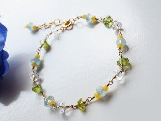 アクアマリン クールストーンブレスレット Aquamarine Cool stone bracelet B0027の画像