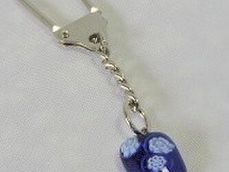 【ガラス】キーストラップ・紺・花の画像