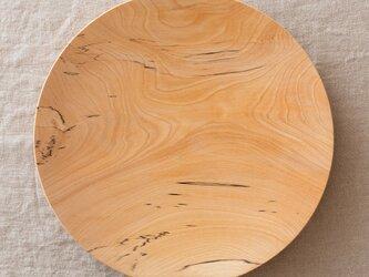 【再入荷在庫あり】ろくろ挽きの木皿 栃の木 24cmの画像