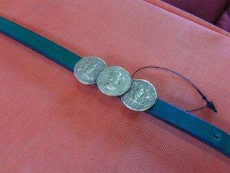 真鍮ブラス製 大正ロマン調西洋コイン型帯留め 着物や浴衣の帯締め飾りにの画像