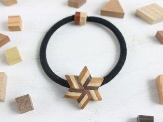寄木のストライプ星形ヘアゴムの画像