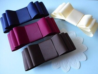 全5色・グログランのトリプルリボンバレッタ(wide)の画像
