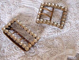 イギリス製ヴィンテージ ラインストーン飾りバックル2個セットの画像