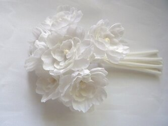 まっ白い小花の斜茎コサージュの画像
