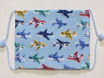 子供マスク小学生サイズ  飛行機 水色の画像