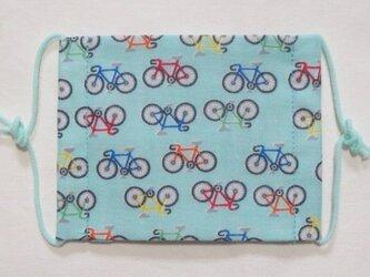 子供マスク小学生サイズ  自転車 水色の画像