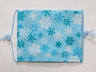 子供マスク小学生サイズ  雪の結晶 ブルーの画像