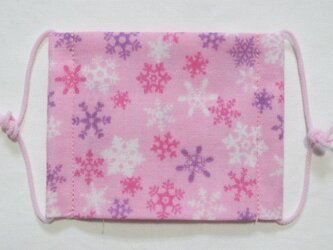 子供マスク小学生サイズ  雪の結晶 ピンクの画像