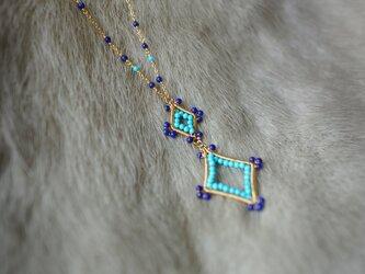 ラピスターコイズダイヤモチーフネックレス K14GFの画像