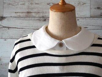 リネン生地シャツ型丸襟の付け襟の画像