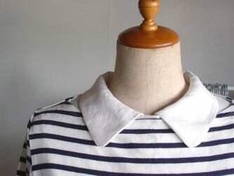 リネン生地シャツ型スタンダード襟の付け襟の画像