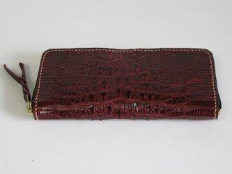 手縫い ジャグルシーのラウンドファスナー仕様の長財布の画像