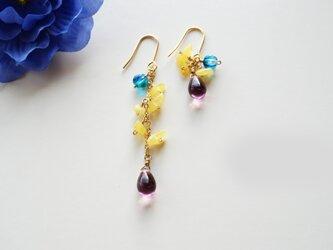 琥珀のピアス Individuel Amber earrings P0039の画像