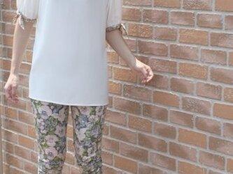 ハンドメイド 袖口リバティ リボン チュニック 白の画像
