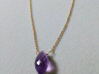 宝石質アメシストライスカットネックレスの画像