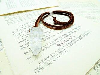 再販 ヒマラヤ水晶の鹿革ネックレス N46の画像