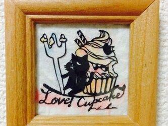 ミニ切り絵:なまいき猫ちゃんとカップケーキ2の画像