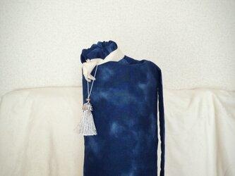 ☆ユニセックス ダイダイ柄のヨガマットケース ネイビー Mサイズの画像