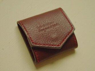 イタリアンレザーのスクエアコインケース ダークブラウン×レッドの画像