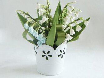 小さな植木鉢 スズラン(アクセントカラー・ライトブルー)の画像