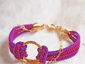 ●wa (purple)リングシェイプの絹組紐ブレスレットの画像