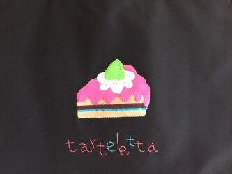 ホントはまるごと食べたい!ショートケーキ柄のレッスンバッグの画像