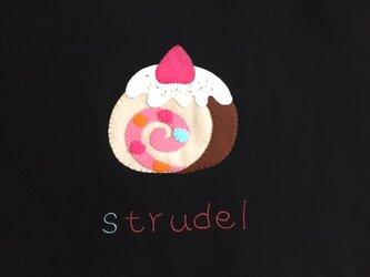 新鮮たまごたっぷり?!ロールケーキ柄のレッスンバッグの画像