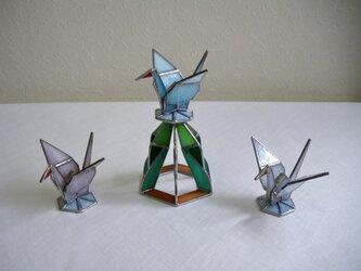 (受注生産)グリーン折り鶴・ステンドグラスセット・正月飾りにも最適!の画像