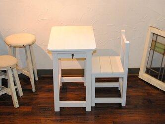 ★白いレトロ机★かわいい昭和レトロの小さな勉強机と椅子★の画像