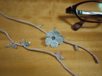 レース編みの眼鏡ストラップ (秋 水色)の画像