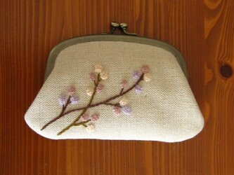 手刺繍・ヨコ長がまぐち(木の実2)の画像
