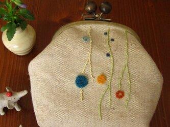 手刺繍・がまぐちポーチ(毛糸玉)の画像