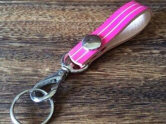 【迷子なし!】鍵を見つけやすいカラフルキーホルダー【ピンク】の画像