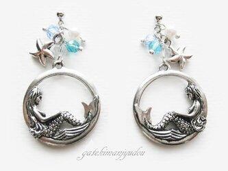 【M様ご予約品】人魚姫の耳飾り/ブルーストーンの画像