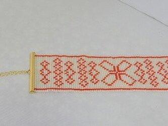 ビーズ織【ブレスレット】桜白・赤×ゴールドの画像