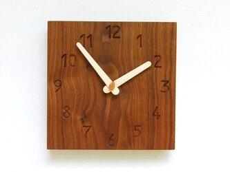 20cmX20cm 掛け時計 ウォールナット【1525】の画像