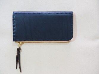 L字ファスナーの短め長財布 / ネイビーの画像