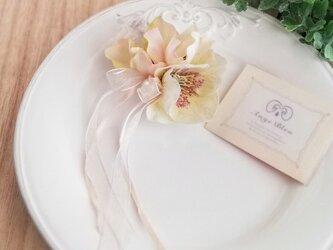 クリスマスローズコサージュ&ヘッドドレス 2way ☆*:. ピンク christmas rose corsage pinkの画像