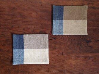 手織りコースター2枚setの画像